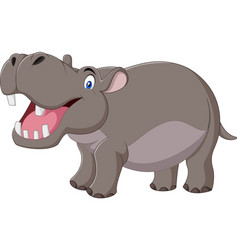 Cartoon hippo with open mouth vector