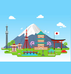 cartoon japan travel infographic card poster vector image