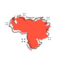 Cartoon venezuela map icon in comic style vector