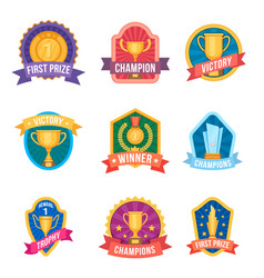 champion emblems trophy cups and medals on award vector image