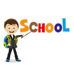 Cheerful school child with school backpack vector