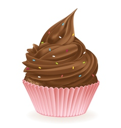 Chocolate Sprinkle Cupcake vector image