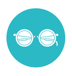 circle light blue with glasses icon vector image