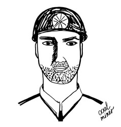 Coal miner black and white vector