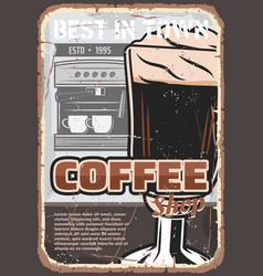 Coffee cup espresso drink and coffeemachine vector