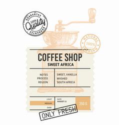 coffee package with text and coffee grinder vector image