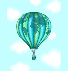 Conceptual art of hot air balloon with world map vector