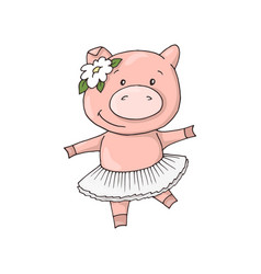 Cute little sweet charming cartoon dancing girl vector