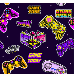 cute seamless abstract pattern in pixel game style vector image
