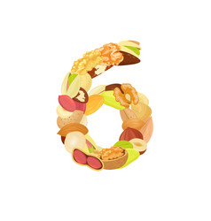 Delicious number made from different nuts six vector