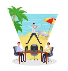 Dreaming about vacation flat vector