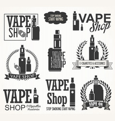 Elements for vapor bar and vape shop electronic vector