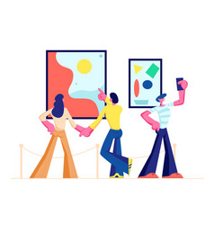 Exhibition visitors viewing modern paintings vector