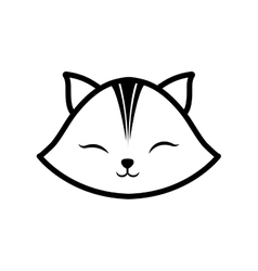 face cat clossed eyes feline outline vector image