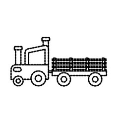 farm tractor trailer agriculture transport vector image