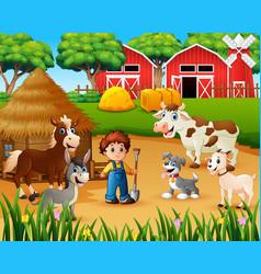 Farmer and farm animal in the farmyard vector