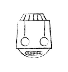 Figure robot head technology with eyes and mouth vector