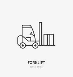Forklift flat line icon fork lift loading box vector