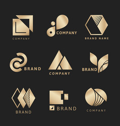 Gold business logo aesthetic template vector