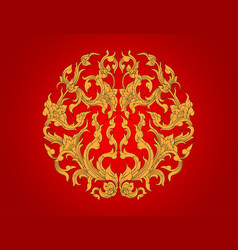 Gold flora art pattern vector