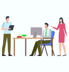 group people in office work management vector image
