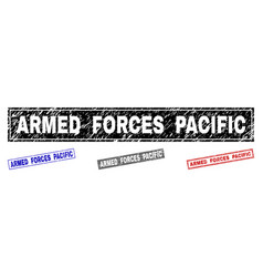 grunge armed forces pacific textured rectangle vector image