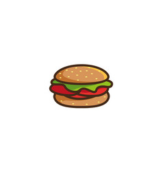 Hamburger sandwich with meat and vegetable vector