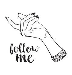 hand drawn female hand in follow me gesture flash vector image