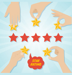 Hands giving five stars rating vector