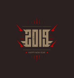 happy new year 2019 - music poster with stylized vector image