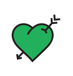 Heart arrow icon green color vector