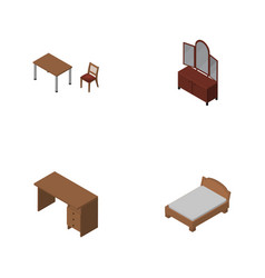 Isometric design set of drawer bedstead chair vector