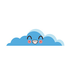 kawaii cloud sky smile face expression vector image