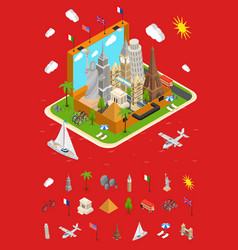 landmarks in vintage travel suitcase concept and vector image