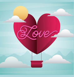 love origami heart flying balloon with sky cloud vector image