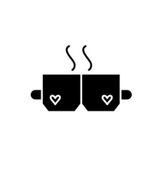 love tea black icon sign on isolated vector image