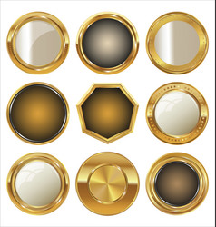 Luxury golden premium quality labels collection vector