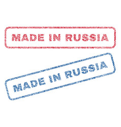 made in russia textile stamps vector image vector image
