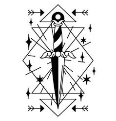 Magic with ancient dagger mystic vector