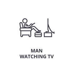 man watching tv thin line icon sign symbol vector image