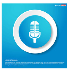 microphone icon abstract blue web sticker button vector image