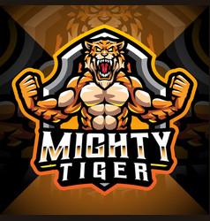 Mighty tigers esport mascot logo design vector