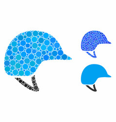 Motorcycle helmet composition icon round dots vector