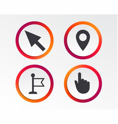 Mouse cursor icon hand or flag pointer symbols vector