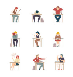 Naughty pupils sitting at school desk vector