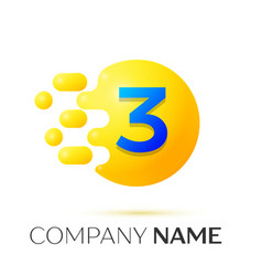 Number three splash logo yellow dots and bubbles vector