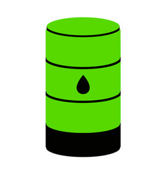 oil barrel sign green 3d icon with black vector image
