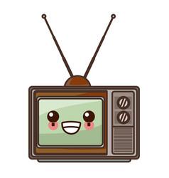 Old tv technology cute kawaii cartoon vector