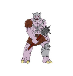 Orc Warrior Holding Club Front Cartoon vector