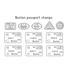 passport stamps boston usa arrival and vector image